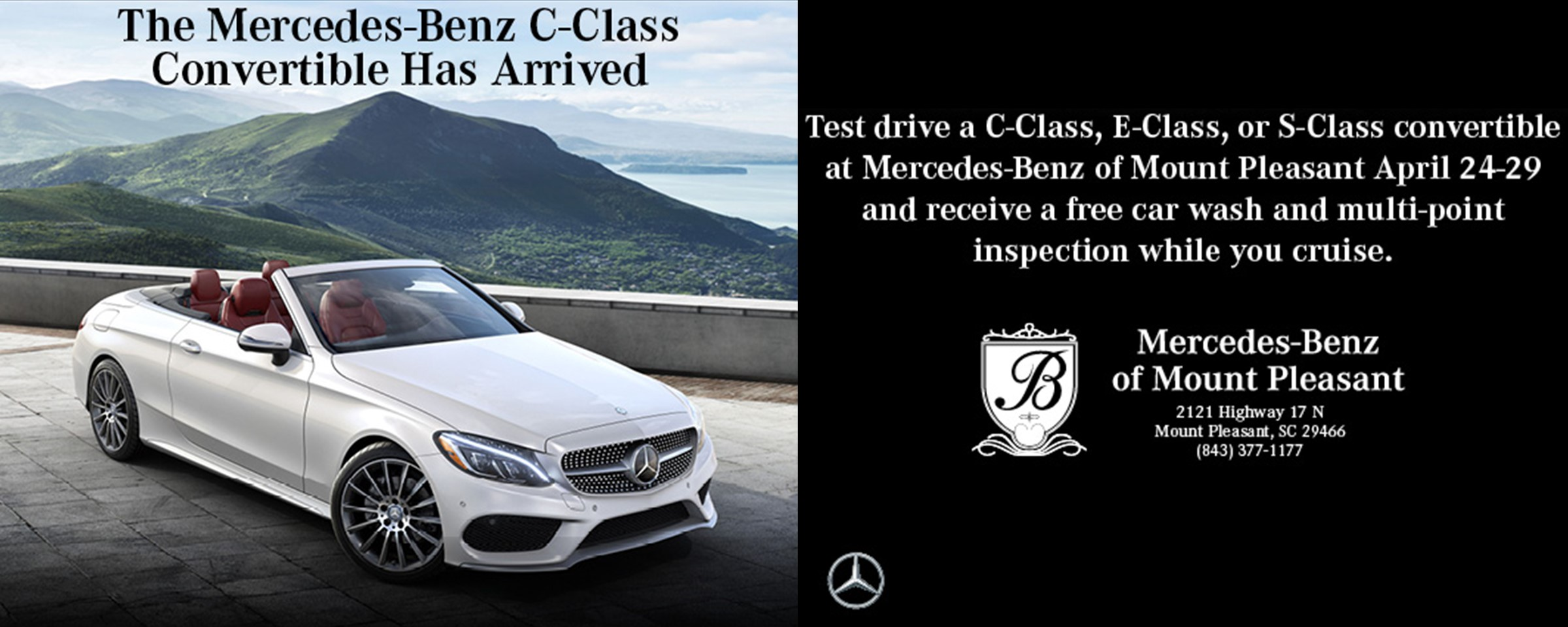 The c class convertible has arrived at mercedes benz of for Mercedes benz car wash free