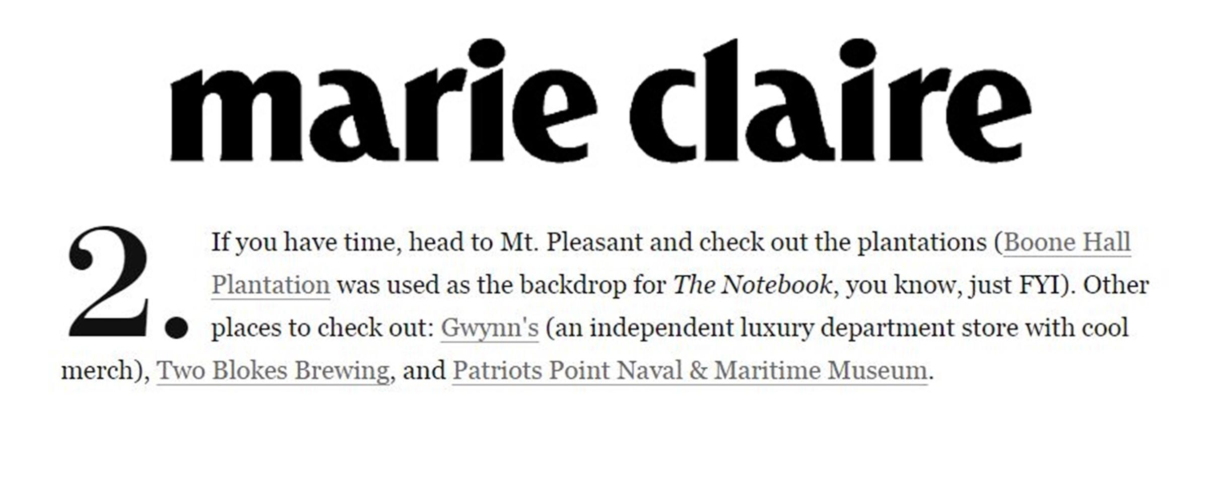 Gwynn's Marie Claire